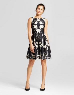 photo Floral Printed Fit and Flare Tank Dress by Melonie T, color Black Combo - Image 1