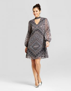photo Printed V-Neck Dress with Choker Detail by Chiasso, color Stone Combo - Image 1