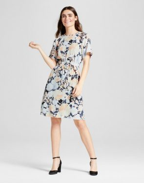 photo Floral Tie Waist Dress by Layered with Love, color Blue Orange Off-White - Image 1