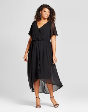 photo Plus Size Midi Surplice Dress by Notations, color Black - Image 1