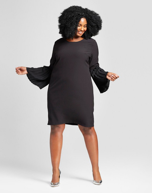 photo Plus Size Crepe Pleated Shift Dress by Notations, color Black - Image 1