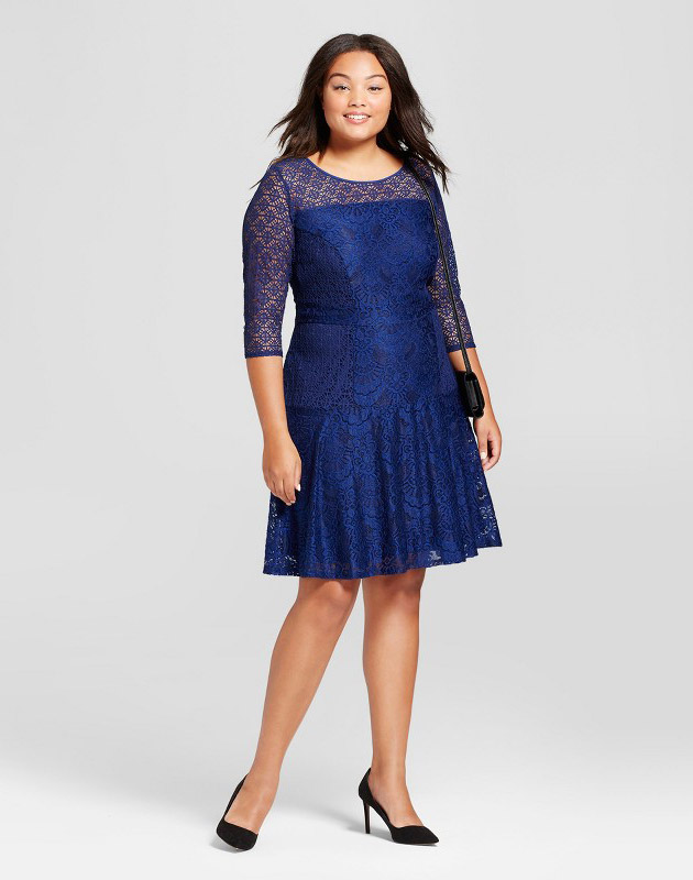 photo Plus Size 3/4 Sleeve Lace Fit and Flare Dress by Notations, color Navy - Image 1