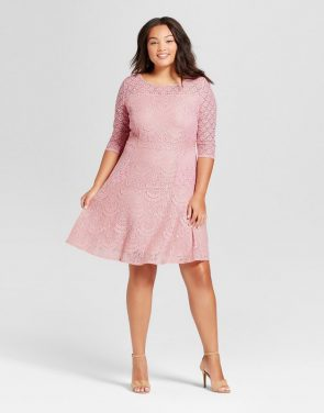 photo Plus Size 3/4 Sleeve Lace Fit and Flare Dress by Notations, color Pink - Image 1