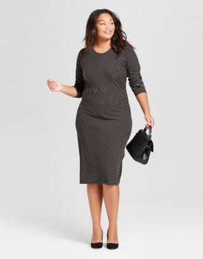 photo Plus Size Striped Rib Knit Midi Dress by Notations, color Black - Image 1