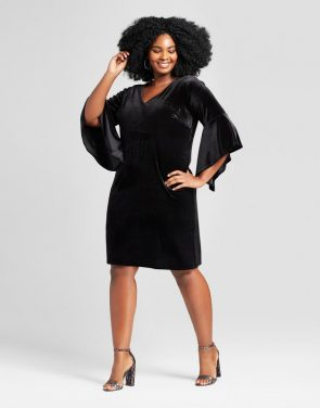 photo Plus Size Velvet V-Neck Bell-Sleeve Dress by Notations, color Black - Image 1