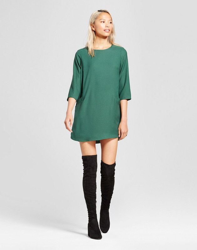 photo Front Pocket Shift Dress by Eclair, color Green - Image 1