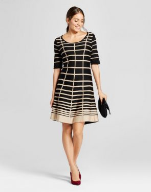 photo Grid Printed Fit and Flare Sweater Dress by Notations, color Black/Tan - Image 1