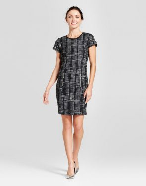 photo Short Sleeve Boucle Sheath Dress by Zac & Rachel, color Black/Ivory - Image 1