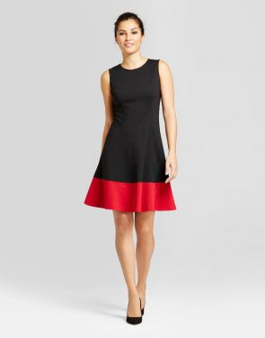 photo Colorblocked Tank Dress by Zac & Rachel, color Black/Red - Image 1