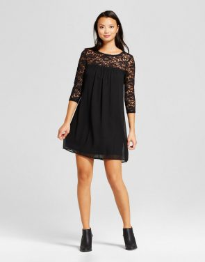 photo Shift Dress with Lace Yolk and Sleeve by Lux II, color Black - Image 1