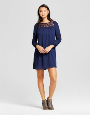 photo Peasant Dress with Lace Yolk and Balloon Sleeve by Lux II, color Navy - Image 1