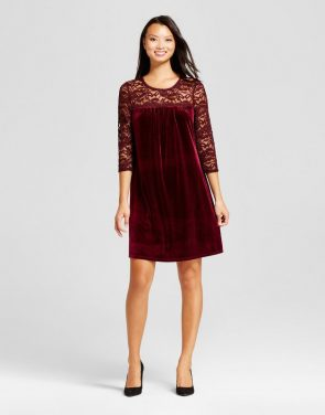 photo Velvet Shift Dress with Lace Yolk by Lux II, color Burgundy - Image 1