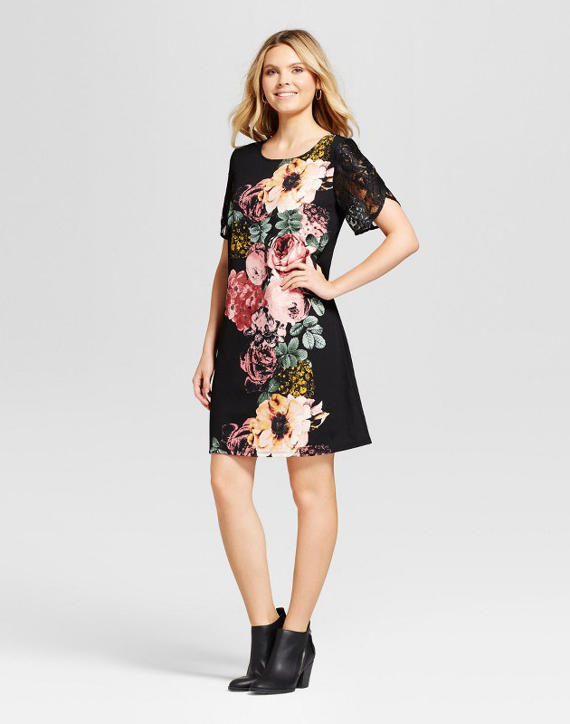 photo Floral Printed Shift Dress with Lace Detail by Lux II, color Black Combo - Image 1