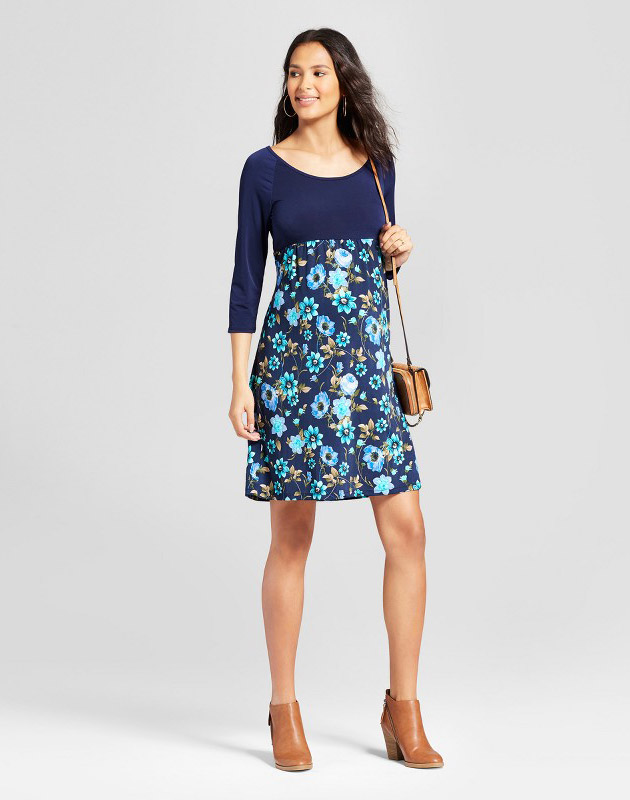 photo Maternity 3/4 Sleeve Print Mixed Dress by MaCherie, color Blue|Navy - Image 1