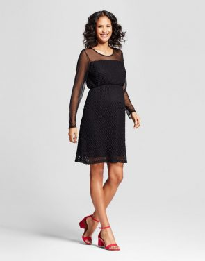 photo Maternity Long Sleeve Lace Dot Dress by MaCherie, color Black - Image 1
