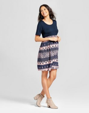 photo Maternity Elbow Sleeve Printed Dress by MaCherie, color Navy Multi - Image 1