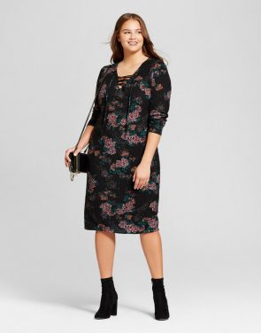 photo Plus Size Cozy Floral Print Lace Up Dress by Xhilaration, color Black - Image 1
