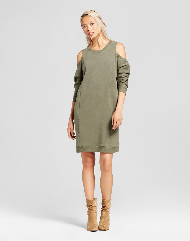 photo French Terry Cold Shoulder Dress by Alison Andrews, color Olive Green - Image 1