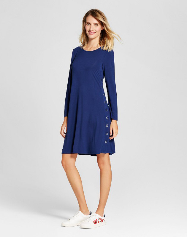 photo Long Sleeve Knit Dress with Side Button Detail by Spenser Jeremy, color Blue - Image 1