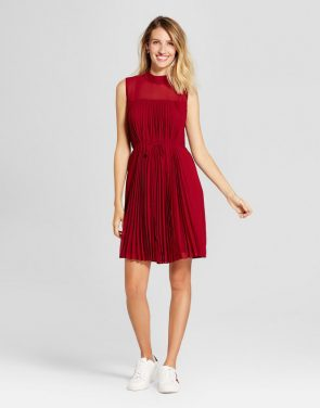 photo Pleated Chiffon Extended Shoulder Dress by Spenser Jeremy, color Red - Image 1