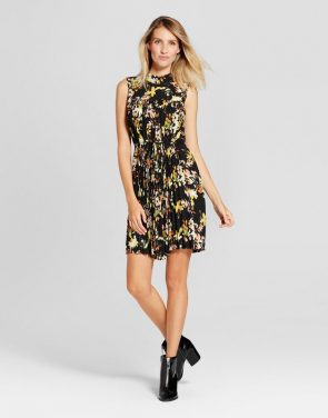 photo Print Pleated Chiffon Extended Shoulder Dress by Spenser Jeremy, color Black Combo - Image 1