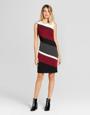 photo Ponte Colorblocked Tank Dress by Spenser Jeremy, color Black/Rosewood - Image 1