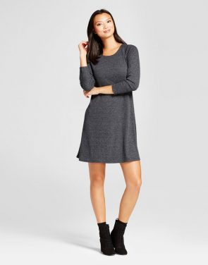 photo Ribbed Knit 3/4 Sleeve Dress by Spenser Jeremy, color Heather Grey - Image 1