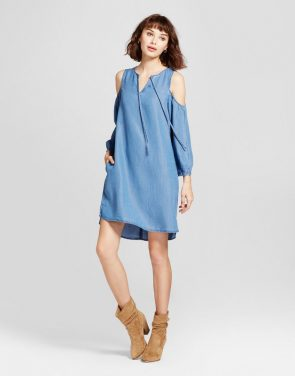 photo Tencel Cold Shoulder Dress by Alison Andrews, color Denim Blue - Image 1