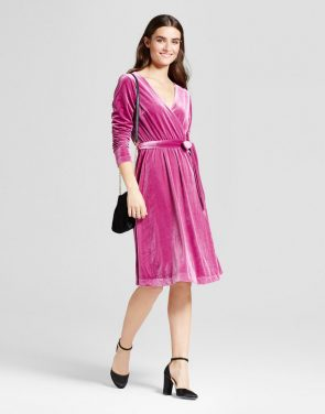 photo Velvet Wrap Dress by Mossimo, color Pink - Image 1