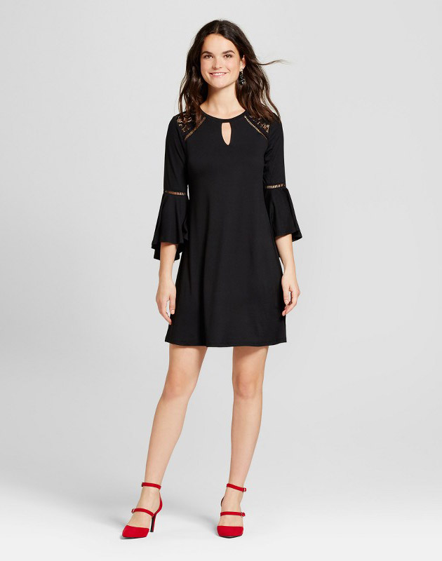 photo Knit Dress with Lace and Stitch Detail by Spenser Jeremy, color Black - Image 1