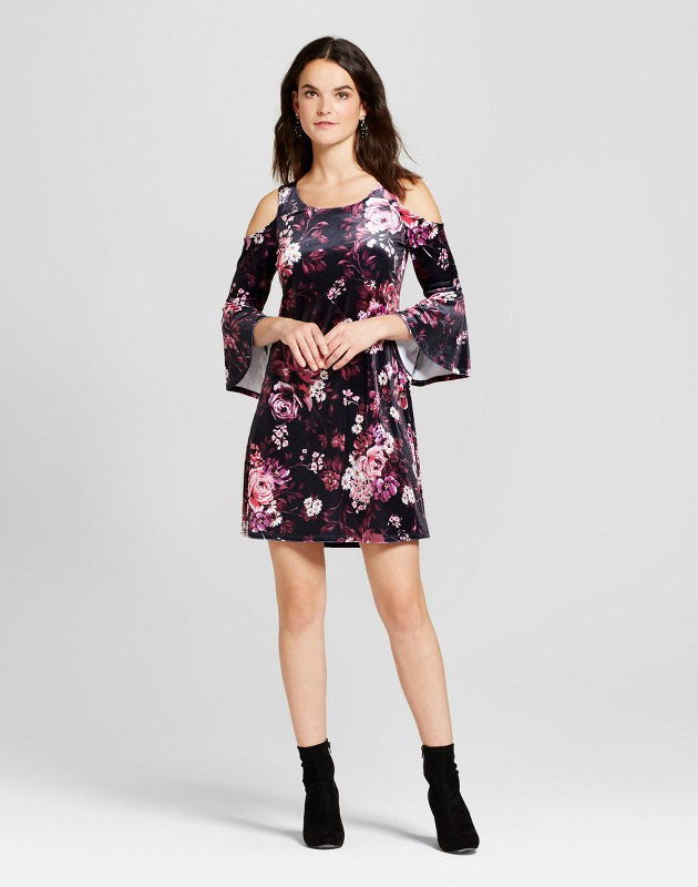 photo Printed Crushed Velvet Cold Shoulder Dress by Spenser Jeremy, color Black Pink - Image 1