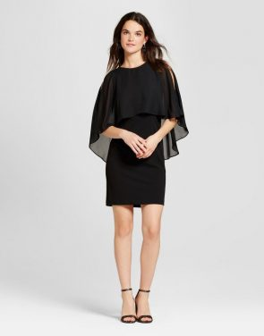 photo Sheath Dress with Chiffon Popover by Spenser Jeremy, color Black - Image 1