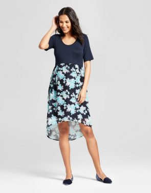 photo Maternity Floral Elbow Sleeve Dress by MaCherie, color Navy Multi - Image 1