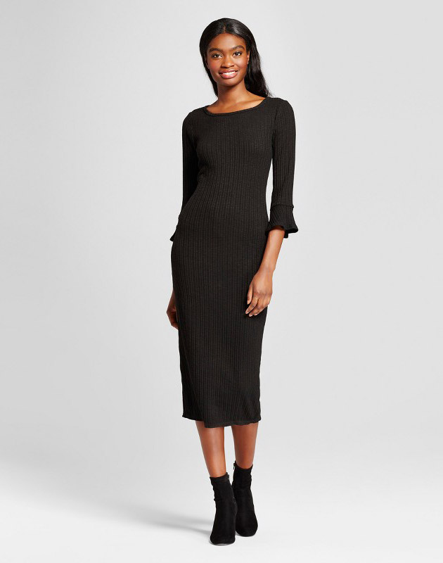 photo Ribbed Ruffle Cuff Midi Sweater Dress by K by Kersh, color Black - Image 1
