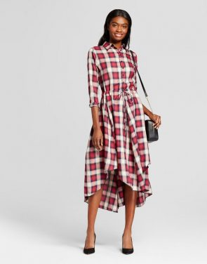 photo Plaid Tie Waist Dress by K by Kersh, color Red Blue Check - Image 1