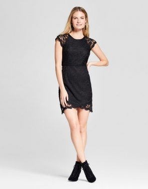 photo Lace Cap Sleeve Dress by K by Kersh, color Black - Image 1