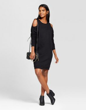 photo French Terry Cold Shoulder Dress by Alison Andrews, color Black - Image 1
