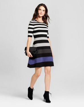 photo Color Blocked Striped Sweater Dress by Spenser Jeremy, color Black Combo - Image 1
