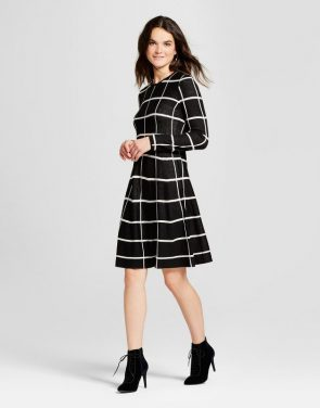 photo Grid Printed Fit and Flare Sweater Dress by Spenser Jeremy, color Black/White - Image 1