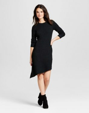 photo Heathered Asymmetrical Hem Sweater Dress by Spenser Jeremy, color Black - Image 1