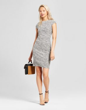 photo Lurex Shine Sheath Dress by Necessary Objects, color Grey - Image 1