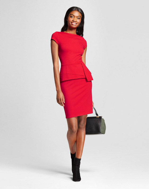 photo Short Sleeve Sheath Dress by Necessary Objects, color Red - Image 1