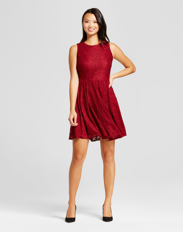 photo Lace Fit and Flare Dress by Melonie T, color Wine Red - Image 1