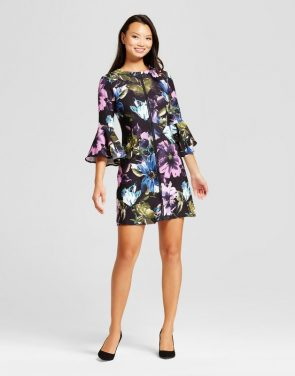photo Floral Printed Bellsleeve Shift Dress by Melonie T, color Black Multi - Image 1