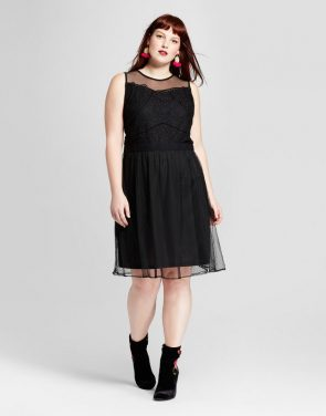 photo Plus Size Fit and Flare Dress by Xhilaration, color Black - Image 1