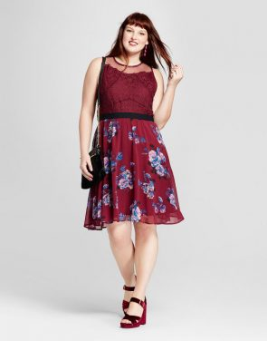 photo Plus Size Fit and Flare Dress by Xhilaration, color Burgundy - Image 1