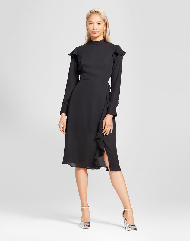 photo Ruffle Slit Dress by Who What Wear, color Black - Image 1