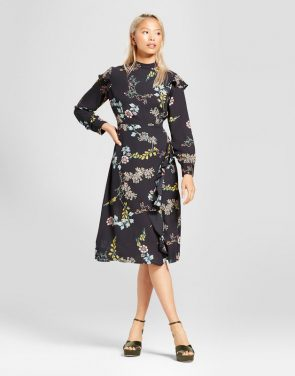 photo Ruffle Slit Dress by Who What Wear, color Black Floral - Image 1