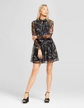 photo Tied Neck Mini Dress by Who What Wear, color Black Floral - Image 1
