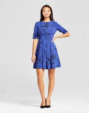 photo Elbowsleeve Ottoman Fit and Flare Dress by Melonie T, color Blue/Black - Image 1